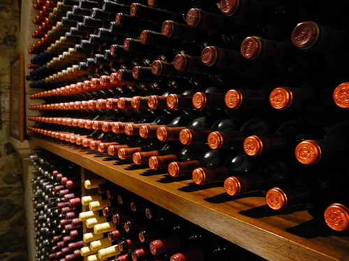 A wall of wine bottles in the Casa de Cayo, a charming inn in Potes in the Picos de Europa, Spain