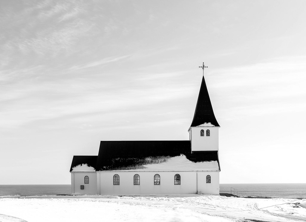 Black and white church iceland