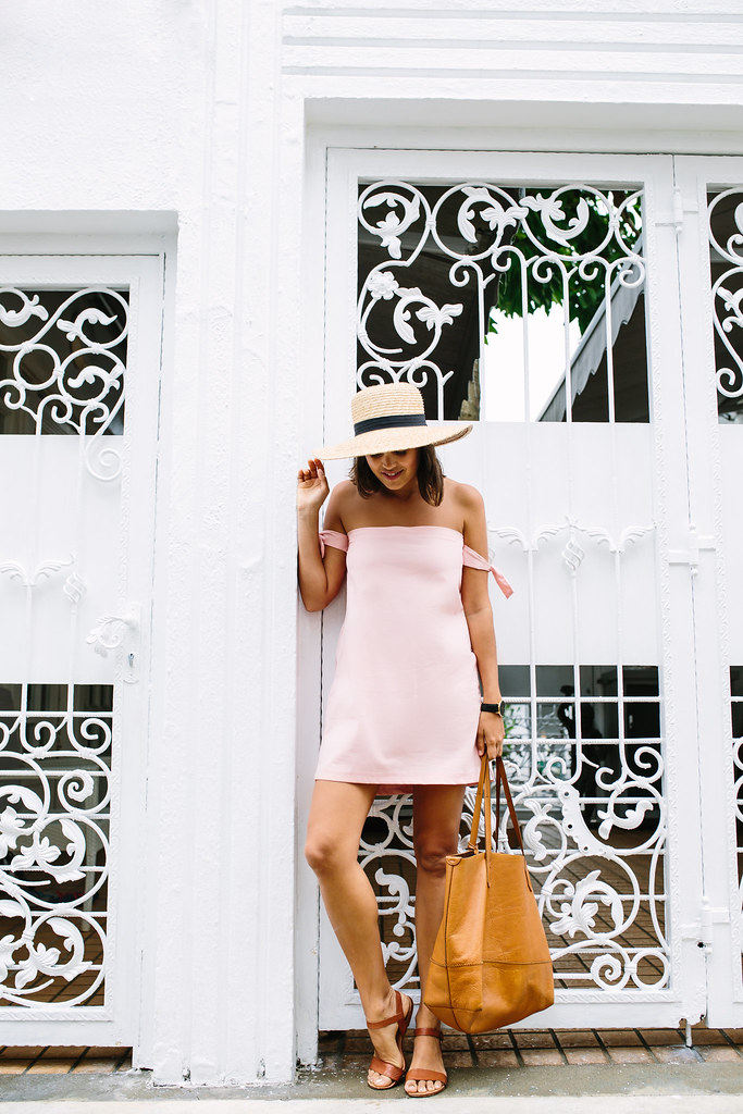DIY Pink Off the Shoulder Dress with arm ties