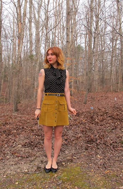 Silk Top & Corduroy Mini Skirt