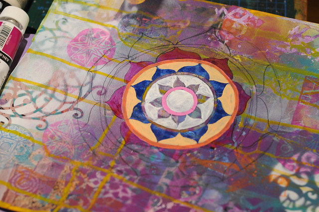 Layered Painting with Mandala