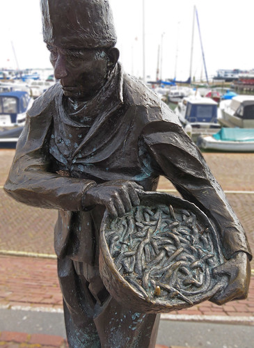 Statue of an eel Fisherman in Volendam, Holland