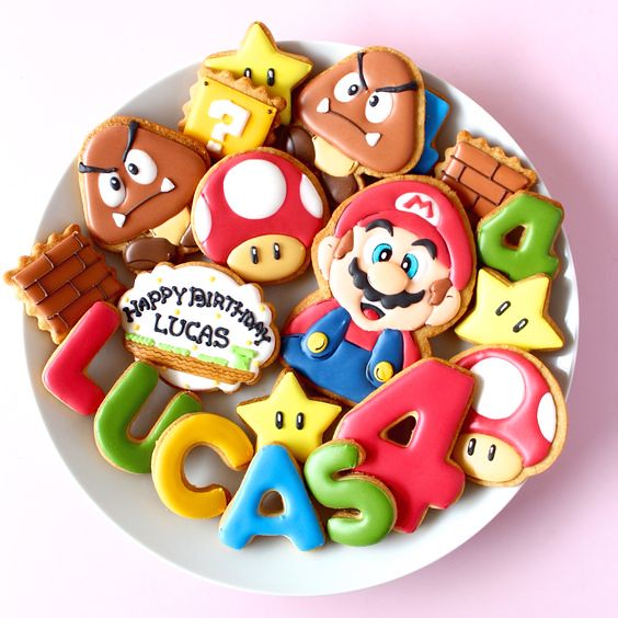 Super Mario Bros. icing cookies by Y&Csweets