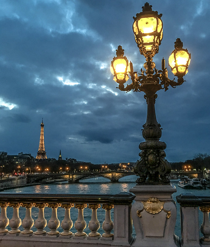 Night view of Pont Alexandre III with Eiffel Tower