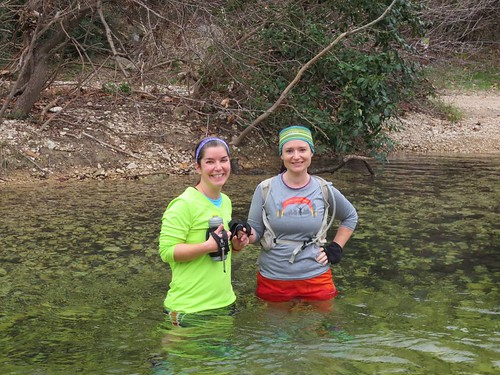 Yes, we probably could have chosen a route that avoided crossing the creek (4 times). It was 45 degrees outside, after all. But this is the first time in YEARS I've seen this much water in the creek. Live Joyfully, right?