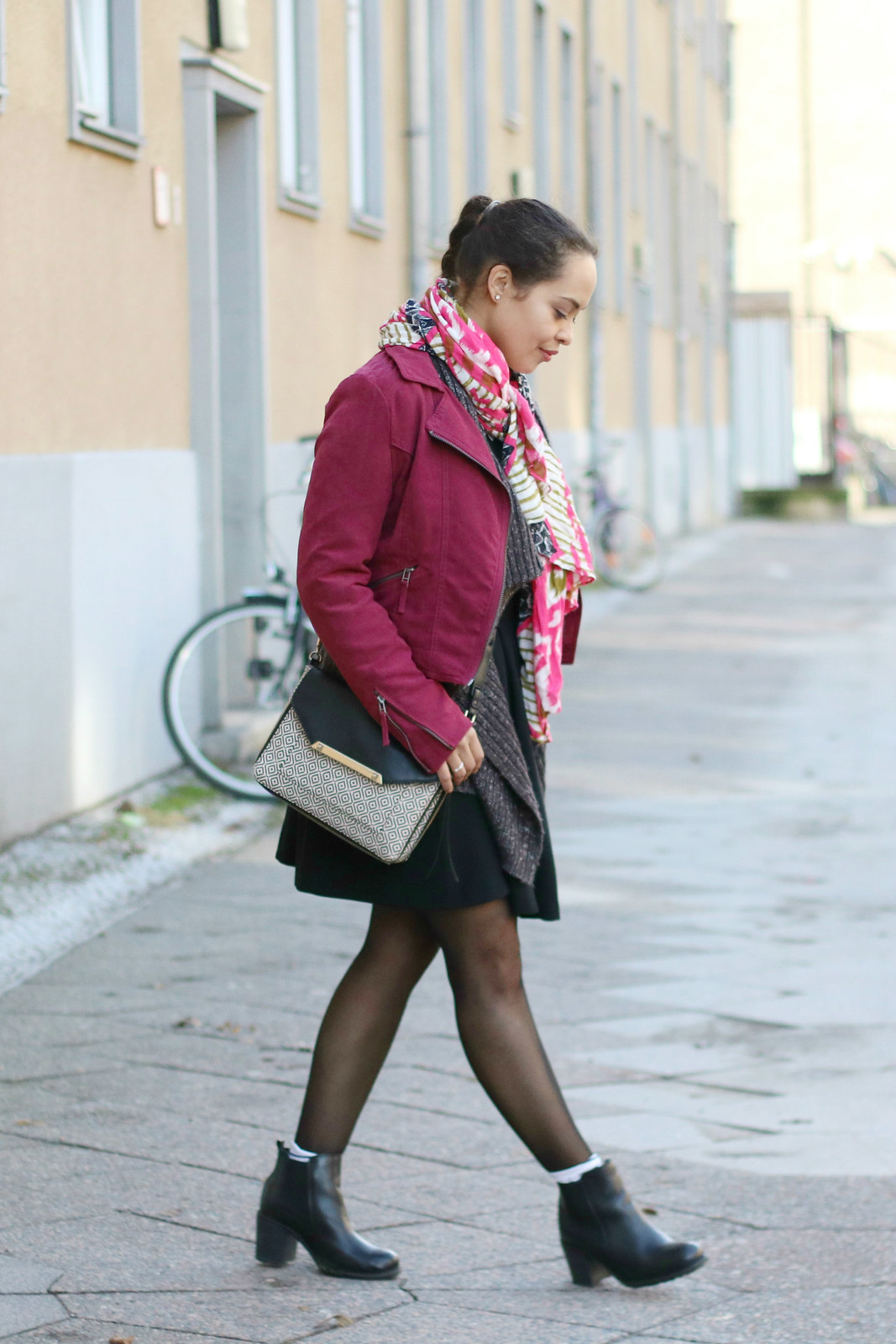 H&M Biker Jacket. Orsay Knit, Mango Dress, Stella & Dot Scarf, Stella & Dot Bag, Buffalo Chelsea Boots