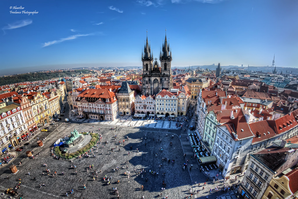 Old Town Square (Staroměstské náměstí). Prague (Fisheye Vision)