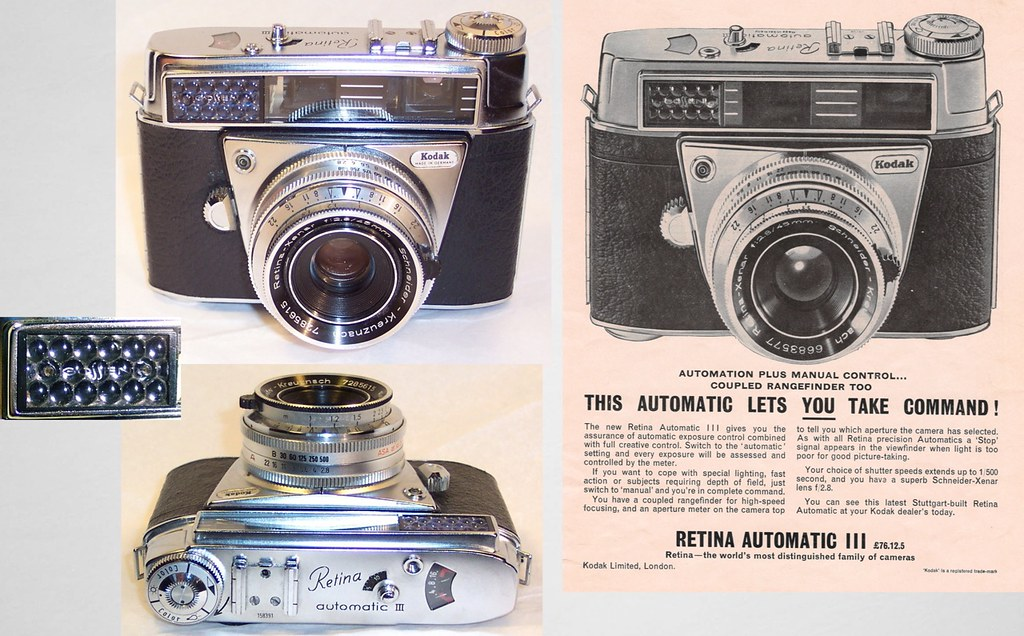 Kodak Retina Automatic III camera (Type 039) and ad 1962 .