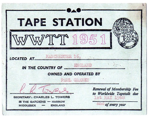 Paul Graney's Worldwide Tapetalk membership card, 1968