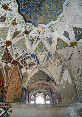 Decorative Ceiling of the Chini tomb in Agra, India