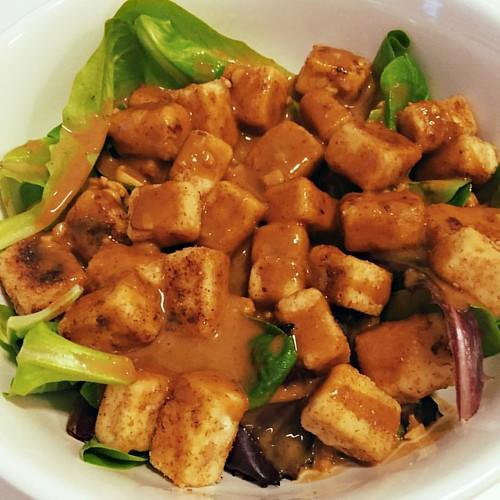Crispy fried tofu salad with peanut sauce | Flickr - Photo Sharing!