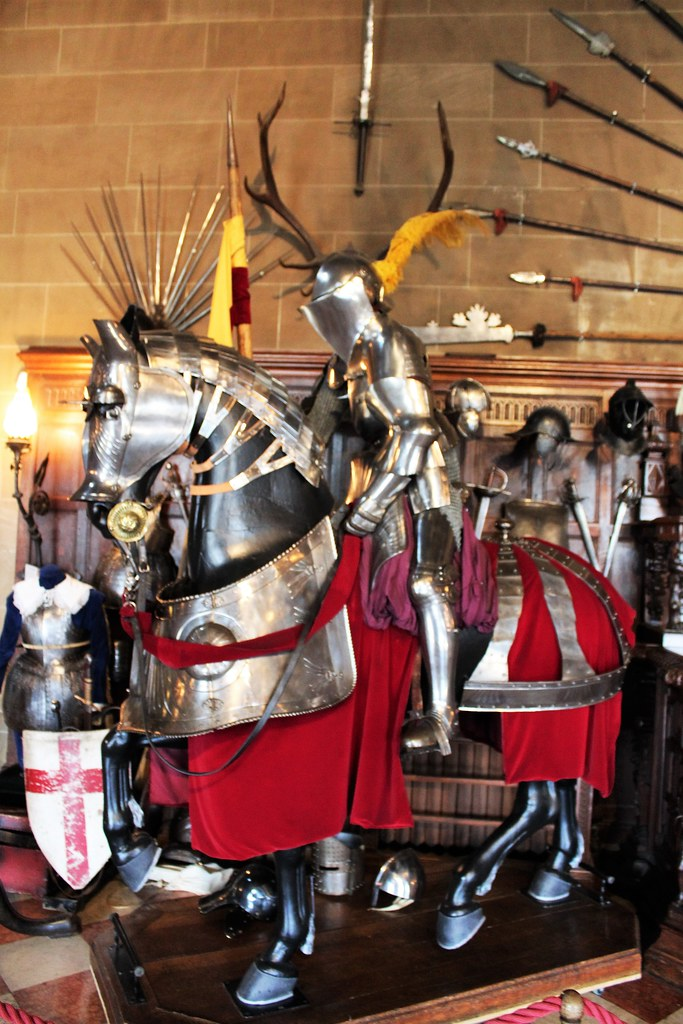 Mounted Knight, Great Hall, Warwick Castle, England.
