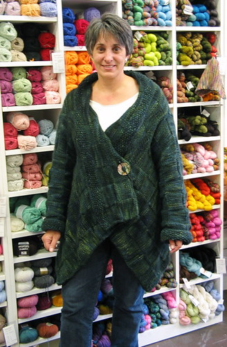 Lynn with her amazing Malabrigo sweater coat | by ImagiKnit