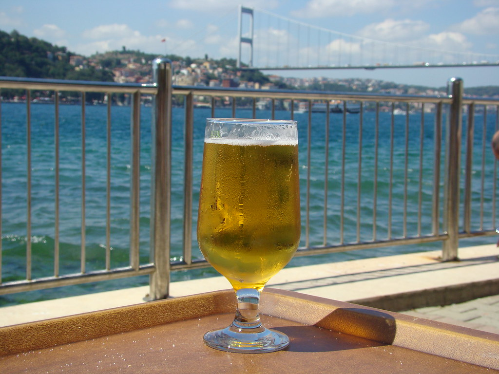 Drinking beer on the Bosphorus, Istanbul