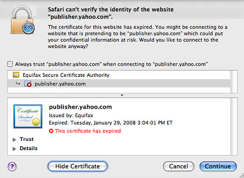 Yahoo Publisher Network Security Cert | by rustybrick