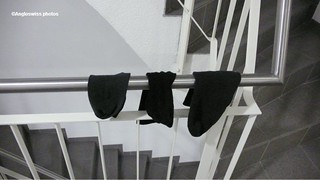 3 lonely socks found on the stairs