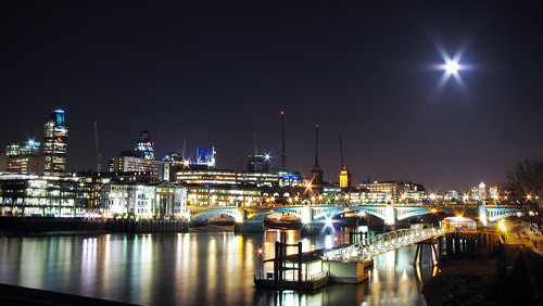 Night London Panorama with Full Moon | by Dimitry B