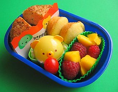 Salmon cake lunch for preschooler (with surprise animal cap) | by Biggie*
