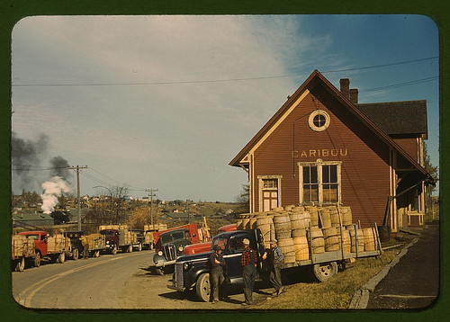 Trucks outside of a starch factory, Caribou, Aroostook County, Me. There were almost fifty trucks in the line. Some had been waiting for twenty-four hours for the potatoes to be graded and weighed  (LOC) | by The Library of Congress