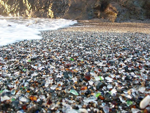 Close-up view of the colored glass beads mixed in the sand at Glass Beach near Fort Bragg, CA  (glassbeach36xy) | by mlhradio