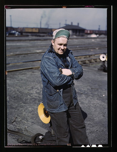 A.S. Gerdee, of 3251 Maypole(?) Street, working as a switchman at Proviso yard of C & NW RR, Chicago, Ill.  (LOC) | by The Library of Congress