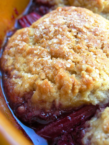 cherry rhubarb cobbler | by awhiskandaspoon