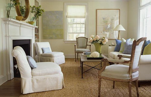 Simple Elegance Classic White Living Room French Chairs Green Blue Accents Flickr
