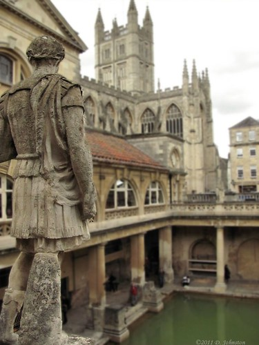 Roman Baths Abbey from the terrace of statues
