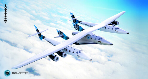 In Air Banking. Conceptual image of VMS Eve and SpaceShipTwo in flight. | by Virgin Galactic