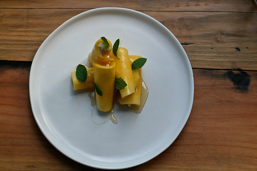 and the dessert is a mango cannelloni with mascarpone and mint. | by scout.magazine