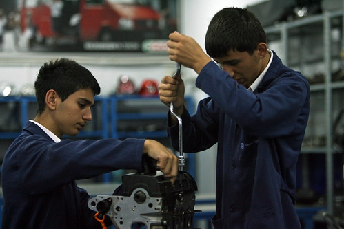 Students work on an engine at Sisli Vocational High School | by World Bank Photo Collection