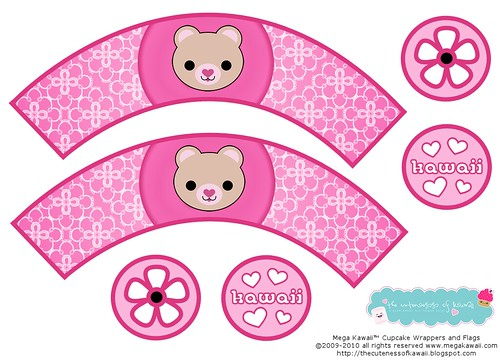 Mega Kawaii™ Bear Cupcake Wrappers and Flags Printable | by The Cuteness of Kawaii