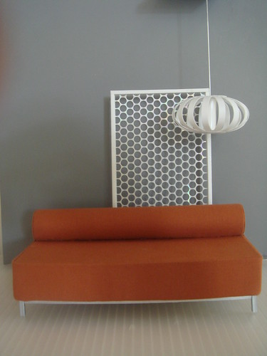 Tootsie Sofa/burnt orange, Ribbon Lamp & Honey Comb Divider | by mini modernistas