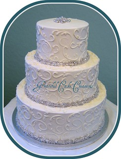 Silver Dragees Wedding Cake