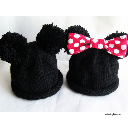 Mickey & Minnie Mouse Ears Hand Knit Baby Hat Flickr - Photo Sharing!