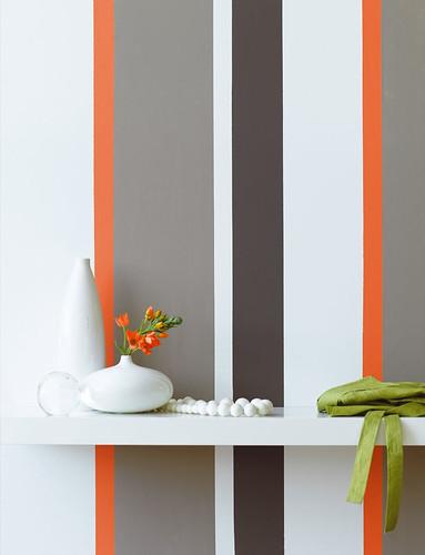 Grey And Orange Striped Wall Wall L R 129 Shirting