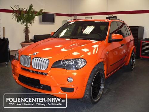 BMW X5-vollverklebung-folie statt lack - orange metallic ...