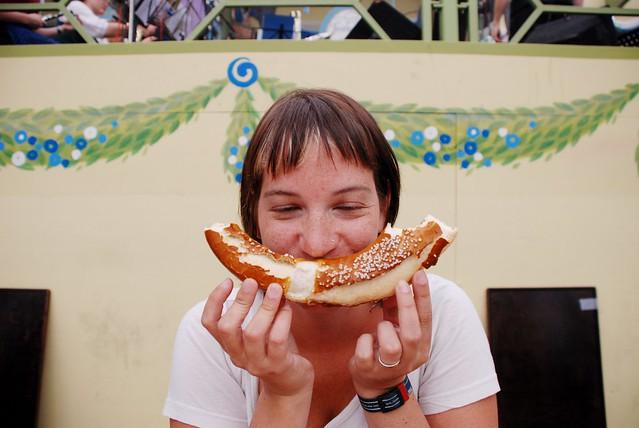 Drunk Sharon likes pretzels