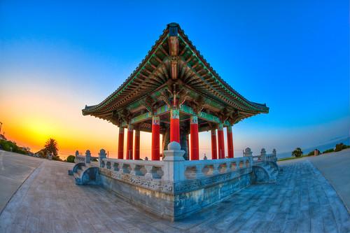 Korean Bell Of Friendship At Sunrise View On Black