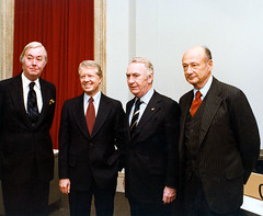 (L-R) Senator Daniel Patrick Moynihan, President Jimmy Carter, New York Governor Hugh Carey, and New York City Mayor Edward I. Koch at the White House, November 2, 1978. | by La Guardia and Wagner Archives