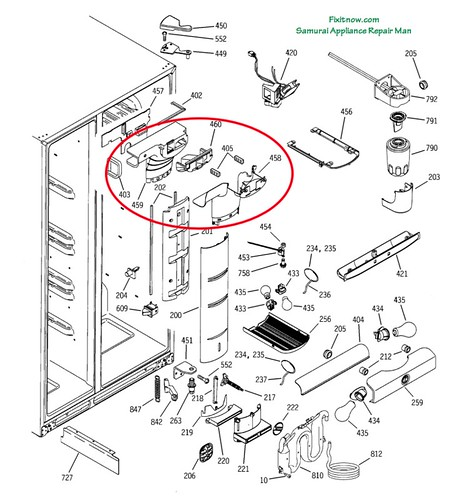 ge profile pss25 fridge breakdown diagram with damper asse u2026