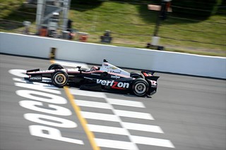 Will Power crosses the Start-Finish line during the open test at Pocono Raceway | by IndyCar Series