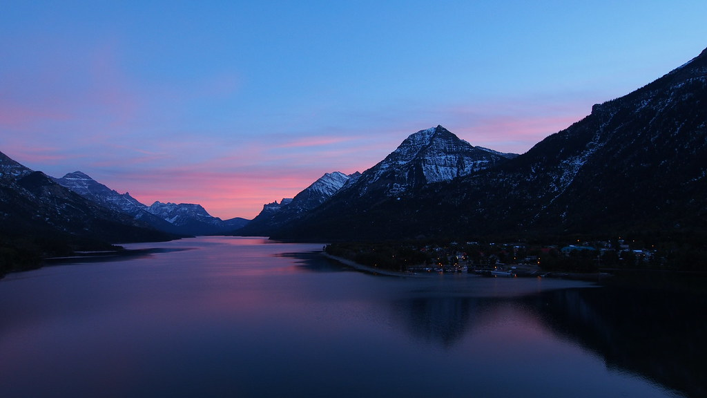 Upper Waterton Lakes at Sunset
