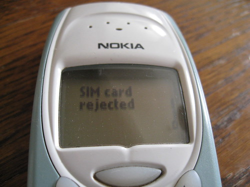 SIM card rejected