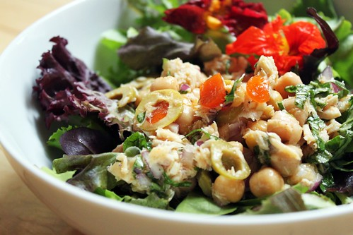 Tuna Chickpea Salad with Olives and Basil | by Kim | Affairs of Living