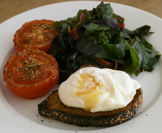 Poached Egg on Toast with Grilled Tomatoes and Rainbow Chard | by monica.shaw