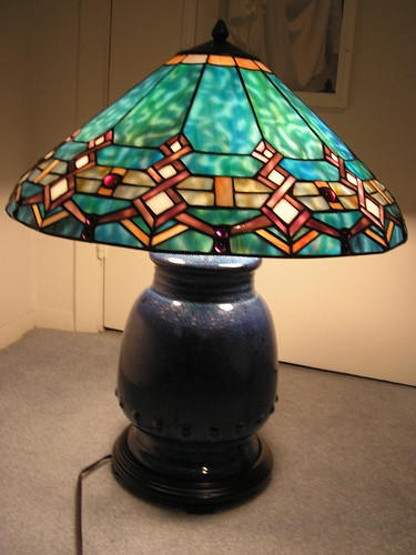 for sale tiffany style turquoise southwestern stained glass lamp by. Black Bedroom Furniture Sets. Home Design Ideas