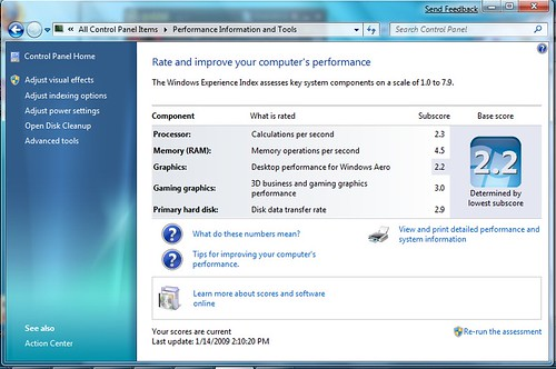 Windows 7 eee 1000h perforrmance rating my performance for R rating for windows