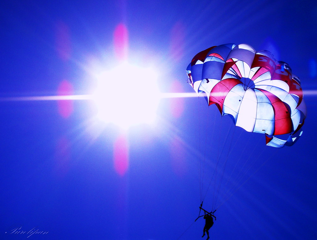 Parasailing into the sun