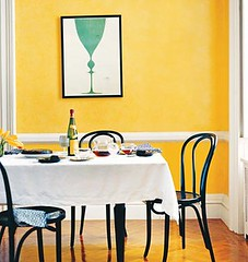 yellow dining room blue poster domino walls are painted
